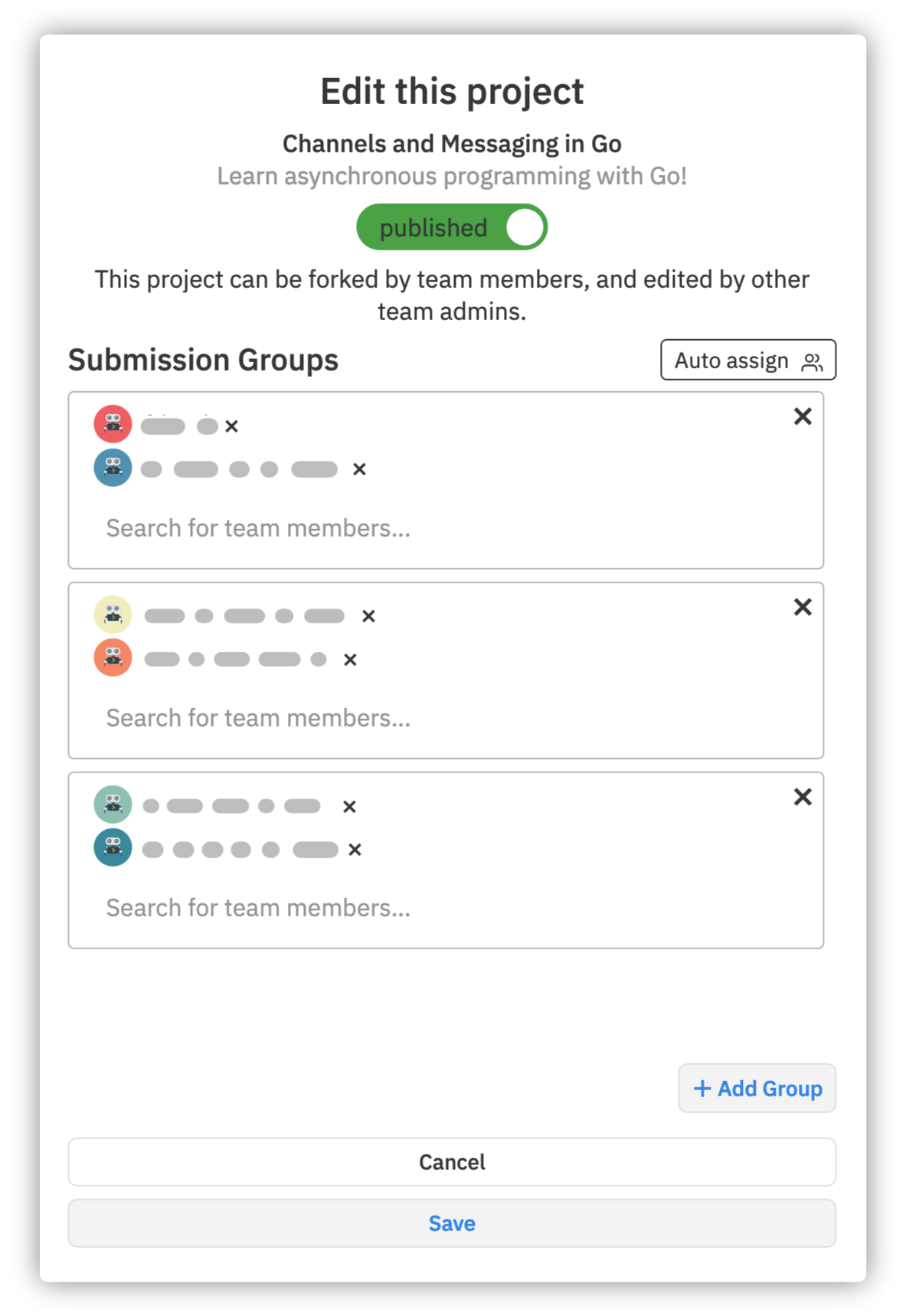 Group assignment interface